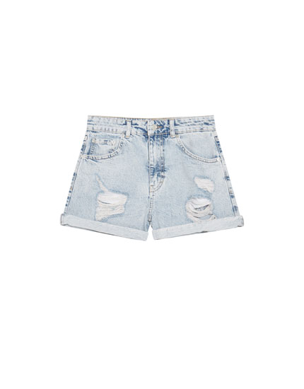 Shorts mom fit rotos