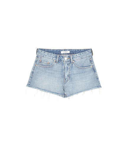 Mid-rise denim shorts