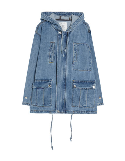 Denim parka with hood