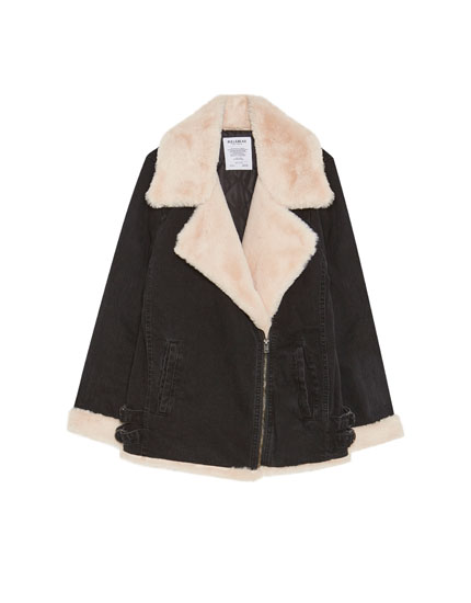 Denim biker jacket with faux shearling