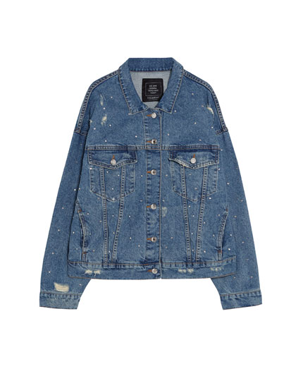Denim jacket with shiny appliqué details