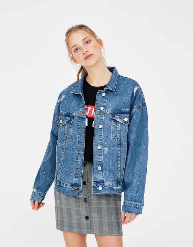 Denim jacket with shiny appliqué details