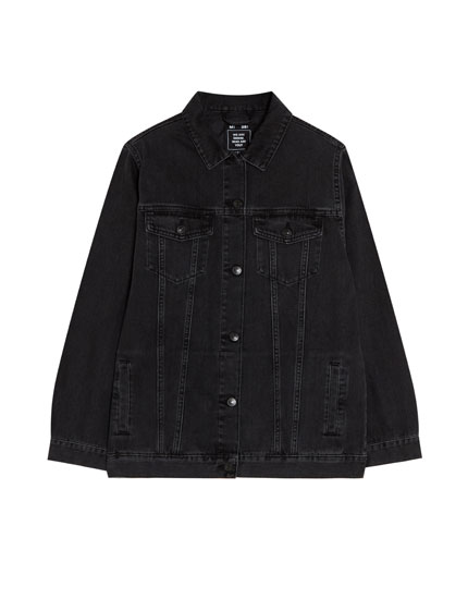 Denim jacket with shoulder pads