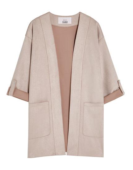 Short faux suede kimono