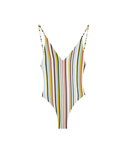 Reversible swimsuit with multicoloured stripes