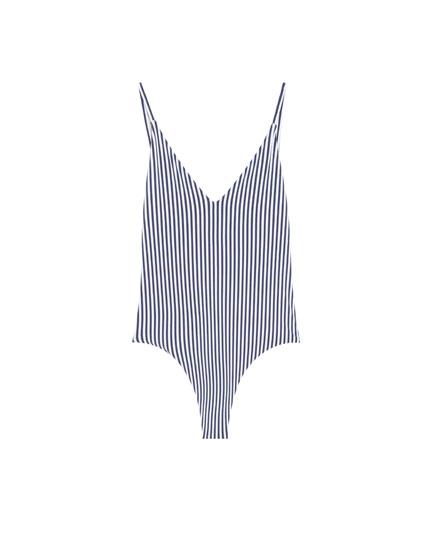Costum de baie Paradise cu dungi bleumarin