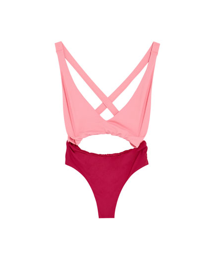 Two-tone swimsuit with criss-cross straps