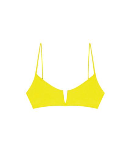Top bikini Paradise galben cu tăietură în V