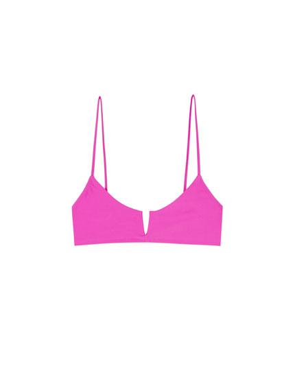 Top bikini Paradise fucsia cu tăietură în V