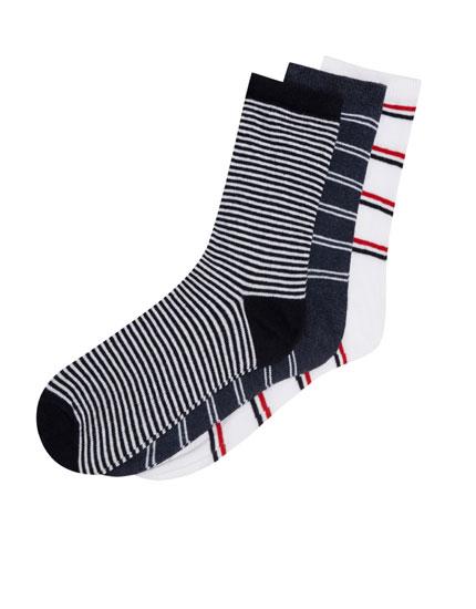 3er-Pack gestreifte Socken