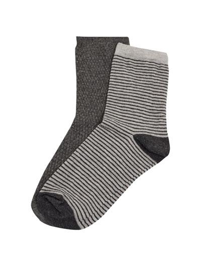 2er-Pack Socken in Grau und geringelt