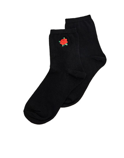 Chaussettes broderie rose