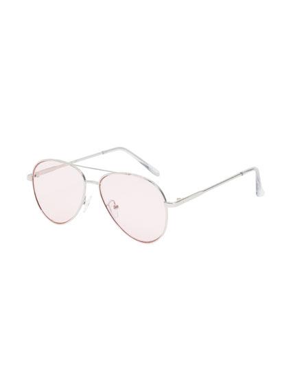 Ochelari de soare stil aviator cu lentile roz