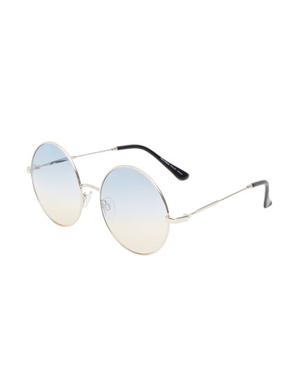 Round sunglasses with ombré lenses