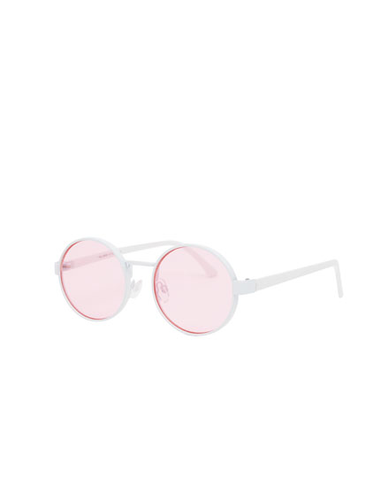 Óculos de sol redondos lentes vermelhas