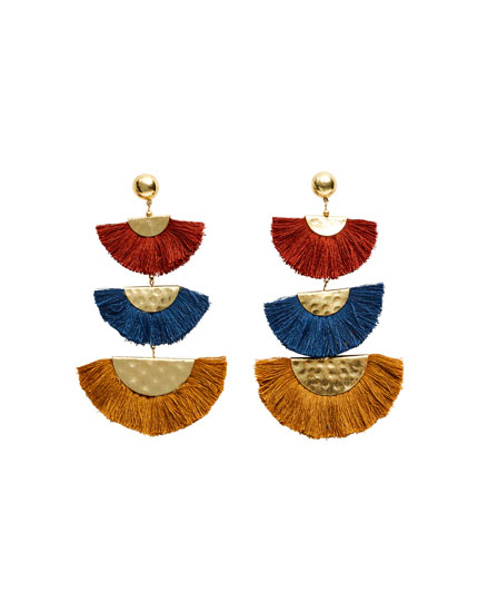 Block earrings with fringe detail