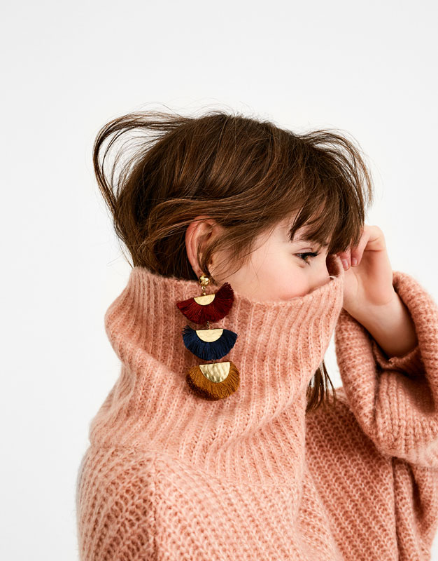 Block earrings with fringe detail