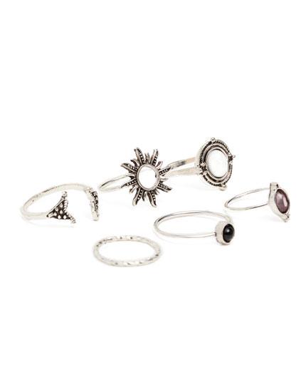 6er-Pack Ringe im Boho-Stil