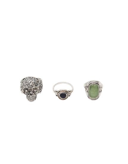 3er-Pack Ringe mit Totenschädeln und Stein
