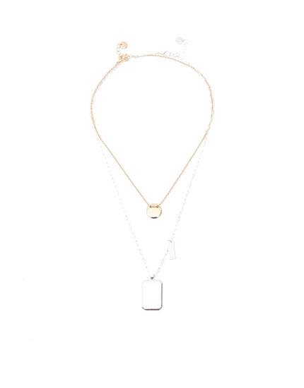 2er-Pack Halsketten mit Plakettenanhänger