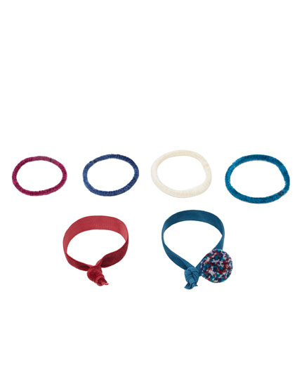 6-pack of chenille hair ties