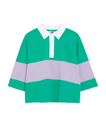 Tricou polo color block
