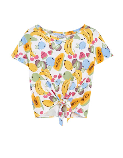 Düğümlü crop t-shirt
