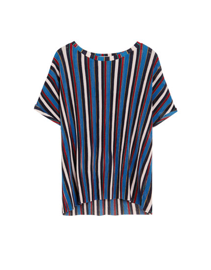 Short sleeve striped pleated T-shirt