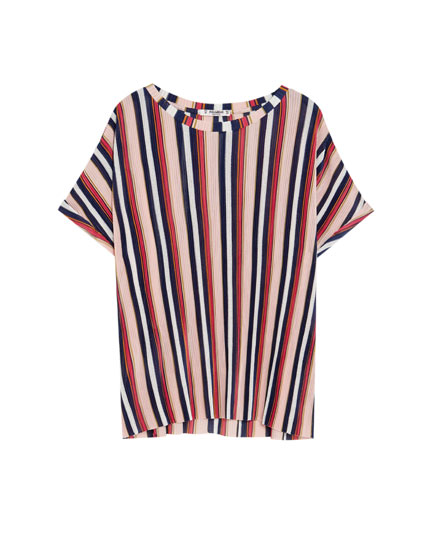 Camiseta manga corta plisada rayas