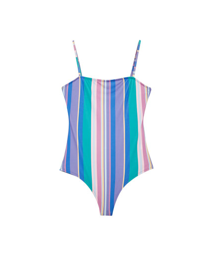 Multi-stripe bodysuit with straight-cut neckline
