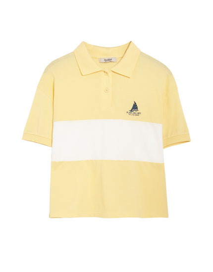 Short sleeve sailing boat polo shirt