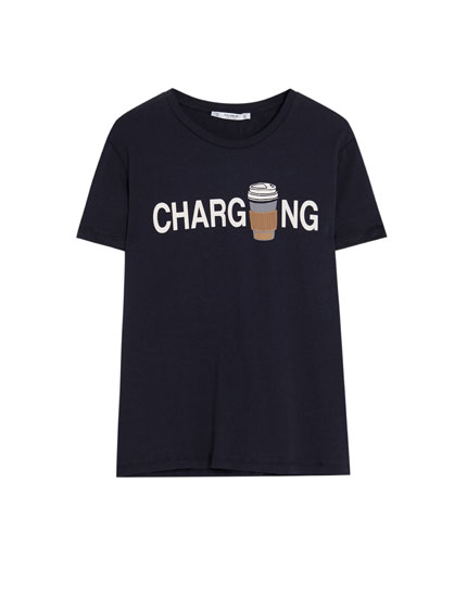 T-shirt with slogan and design
