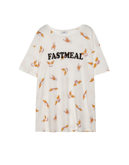 """Short sleeve T-shirt with a """"fastmeal"""" all-over print"""