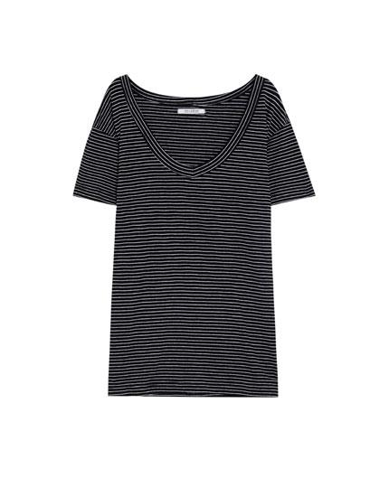 T-shirt rayures col en V