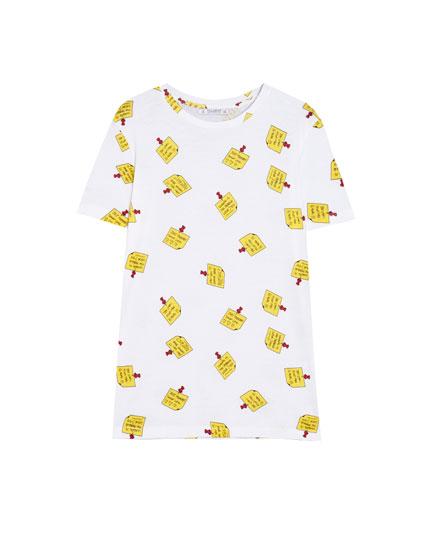 Camiseta manga corta con print