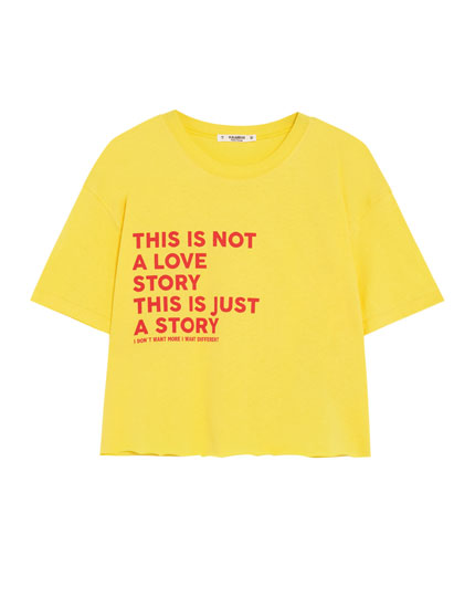 Short sleeve cropped T-shirt with side slogan