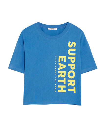 Tricou cropped cu text vertical