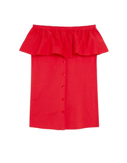 Kleid mit Carmen-Ausschnitt und Volant