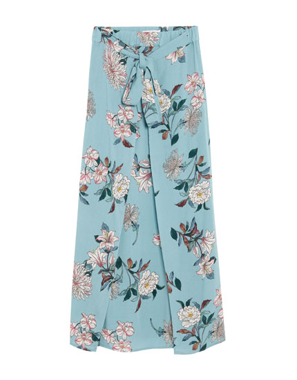 Mønstret midi-nederdel med slidser