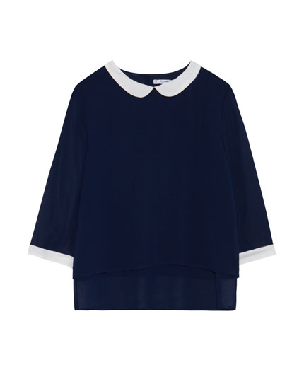 Peter pan collar blouse with 3/4 length sleeves