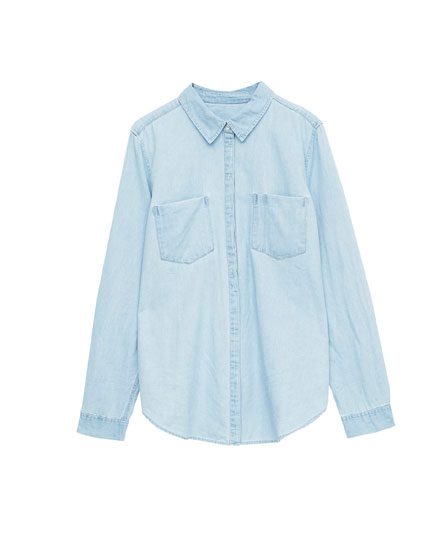 Camisa denim de manga larga