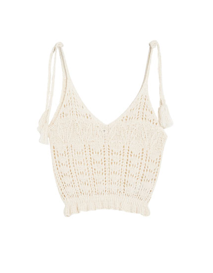Tasselled crochet top