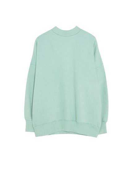 Sweatshirt oversize com gola alta