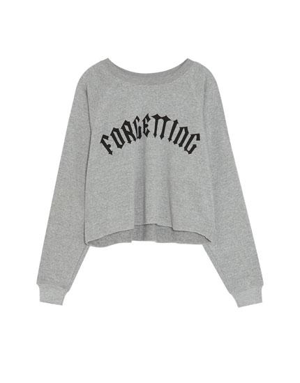 Short sweatshirt with slogan