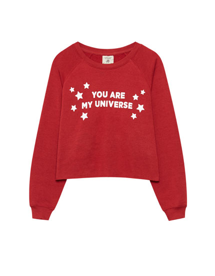 Round neck sweatshirt with slogan