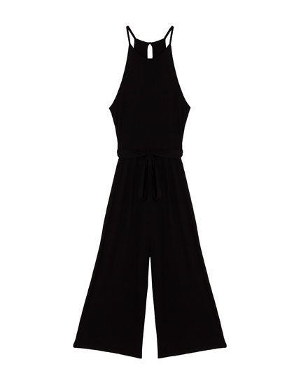 Ribbed halterneck jumpsuit