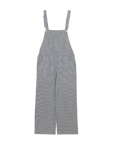 Long blue stripe dungarees