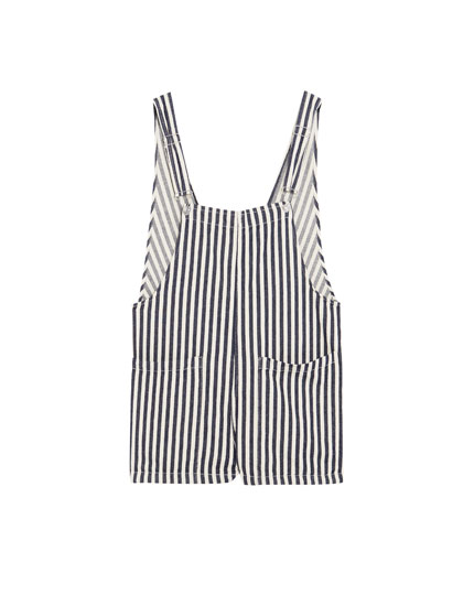 Wide-striped short dungarees