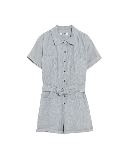 Cargo jumpsuit with thin stripes