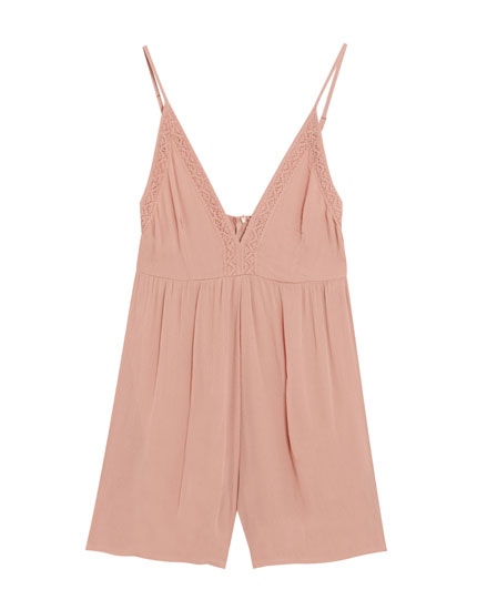 Pink short strappy jumpsuit